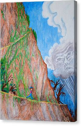 Canvas Print featuring the painting The Downward Path by Matt Konar