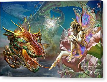 The Dragon And The Fairy Canvas Print by Adrian Chesterman