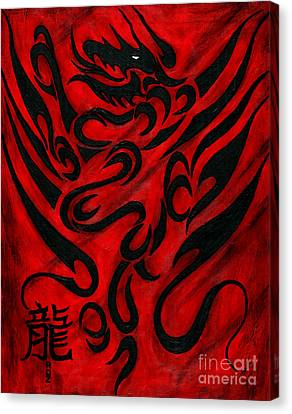 Canvas Print featuring the painting The Dragon by Roz Abellera Art