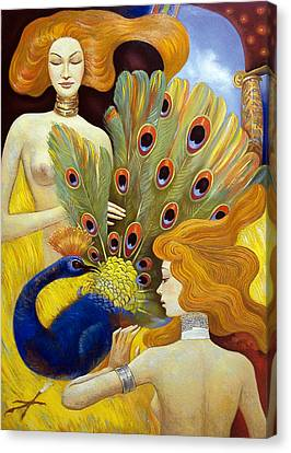 Canvas Print featuring the painting The Dream Of A Peacock by Dmitry Spiros