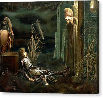 The Dream Of Sir Lancelot At The Chapel Canvas Print by Sir Edward Coley Burne-Jones