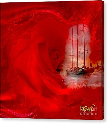 Canvas Print featuring the digital art The Dreaming Rose - Fantasy Art By Giada Rossi by Giada Rossi