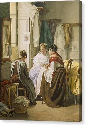 Dressmaker Canvas Print - The Dressmakers by Jules Trayer