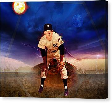 The Duality Of Mickey Mantle American Hero Canvas Print