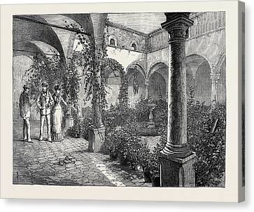 The Duke And Duchess Of Connaught In Sicily Quadrangle Canvas Print by English School