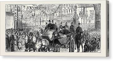 The Duke And Duchess Of Edinburgh At Ashford The Procession Canvas Print by English School