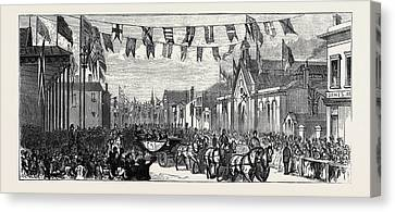 The Duke And Duchess Of Teck At Southport Arrival Canvas Print by English School