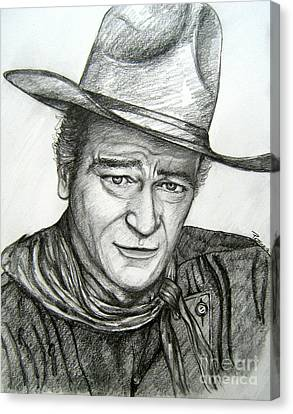 Canvas Print featuring the drawing The Duke John Wayne by Patrice Torrillo