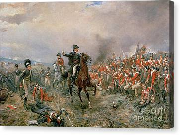 The Duke Of Wellington At Waterloo Canvas Print by Robert Alexander Hillingford