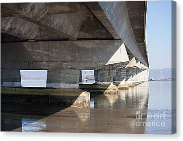The Dumbarton Bridge In The South Bay Area California 5dimg2642 Canvas Print by Wingsdomain Art and Photography