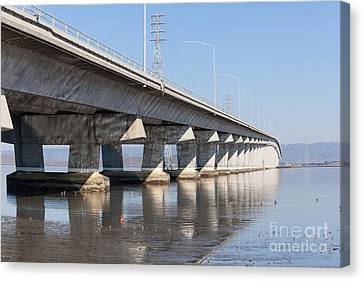 The Dumbarton Bridge In The South Bay Area California 5dimg2650 Canvas Print by Wingsdomain Art and Photography