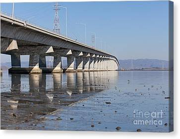 The Dumbarton Bridge In The South Bay Area California 5dimg2652 Canvas Print by Wingsdomain Art and Photography