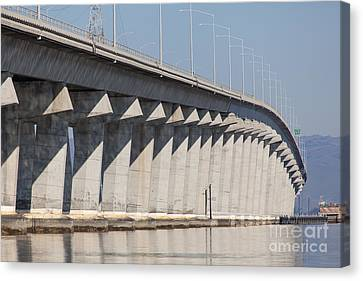 The Dumbarton Bridge In The South Bay Area California 5dimg2655 Canvas Print by Wingsdomain Art and Photography