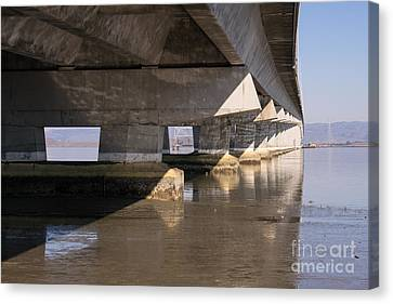 The Dumbarton Bridge In The South Bay Area California Dsc2454 Canvas Print by Wingsdomain Art and Photography