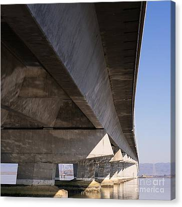 The Dumbarton Bridge In The South Bay Area California Dsc2458 Square Canvas Print by Wingsdomain Art and Photography