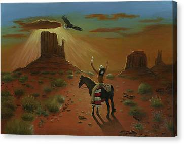 The Eagle And The Indian Canvas Print by Cecilia Brendel