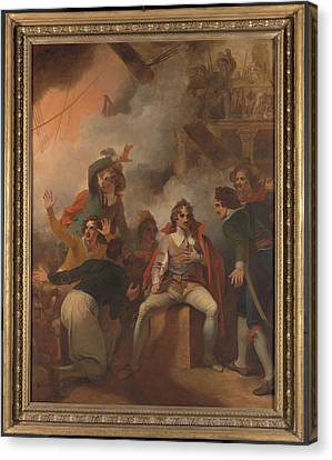 The Earl Of Sandwich Refusing To Abandon His Ship Canvas Print