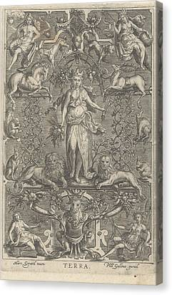 Terra Canvas Print - The Earth, In Frame Of Grotesques, Anonymous by Marcus Geraerts And Philips Galle