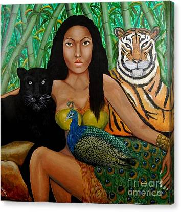 Canvas Print featuring the painting The Earth Woman by Saranya Haridasan