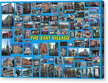 Canvas Print featuring the digital art The East Village Collage by Steven Spak