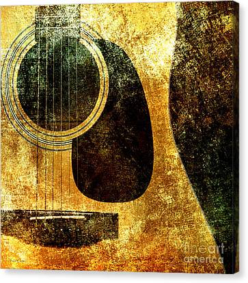 The Edgy Abstract Guitar Square Canvas Print by Andee Design