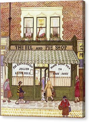 Shop Front Canvas Print - The Eel And Pie Shop, 1989 Watercolour On Paper by Gillian Lawson