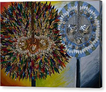 Canvas Print featuring the tapestry - textile The Egungun by Apanaki Temitayo M