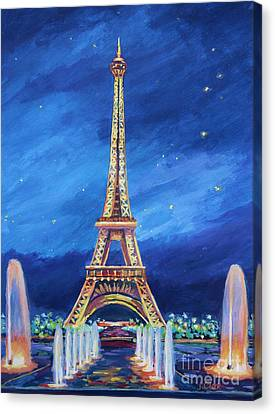 Trocadero Canvas Print - The Eiffel Tower And Fountains by John Clark