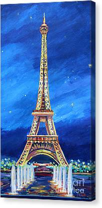 Trocadero Canvas Print - The Eiffel Tower At Night by John Clark