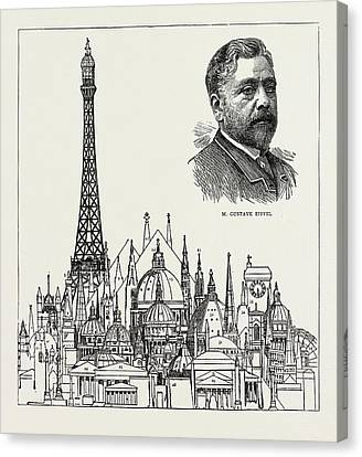 The Eiffel Tower At The Paris Exhibition As Compared Canvas Print by Litz Collection