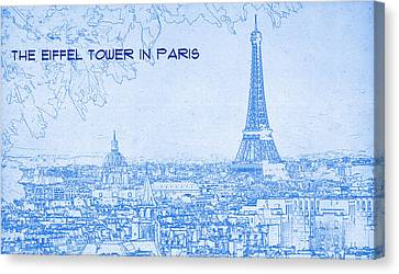 The Eiffel Tower In Paris - Blueprint Drawing Canvas Print by MotionAge Designs