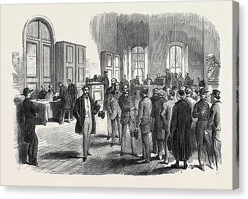 The Elections In France Electors Voting At The Mairie Canvas Print by French School