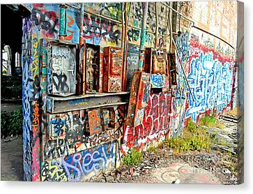 The Electrical Panel For The Old Train Roundhouse At Bayshore Near San Francisco And The Cow Palace Canvas Print by Jim Fitzpatrick