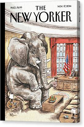 The Elephant In The Room Canvas Print by Ricardo Liniers