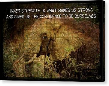 Canvas Print featuring the digital art The Elephant - Inner Strength by Absinthe Art By Michelle LeAnn Scott