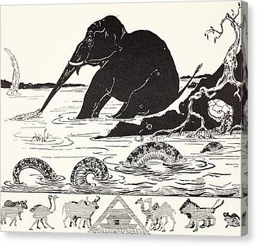 The Elephant's Child Having His Nose Pulled By The Crocodile Canvas Print by Joseph Rudyard Kipling