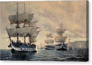 The Embarkation Of The Liberating Expedition Of Peru On The 20th August 1820 Canvas Print