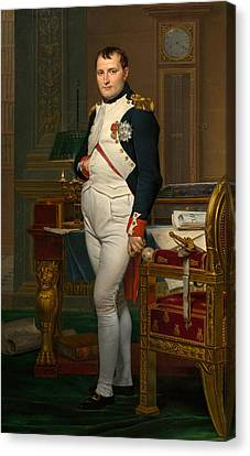 The Emperor Napoleon In His Study At The Tuileries Canvas Print by Jacques Louis David