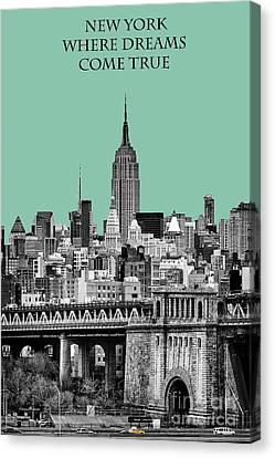 The Empire State Building Pantone Jade Canvas Print by John Farnan