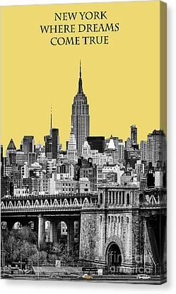 The Empire State Building Pantone Lemon Canvas Print by John Farnan