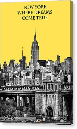 Black And Yellow Canvas Print - The Empire State Building Pantone Yellow by John Farnan