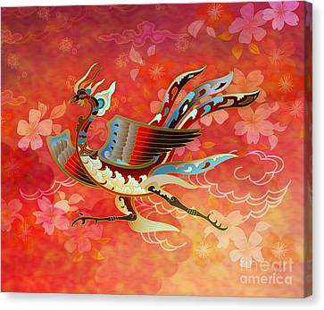 The Empress - Flight Of Phoenix - Red Version Canvas Print by Bedros Awak