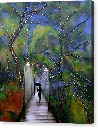 Canvas Print featuring the digital art The Enchanted Woods by Nina Bradica