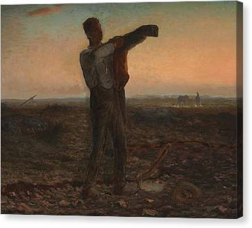 The End Of The Day Effect Of Evening  Canvas Print by Jean-Francois Millet