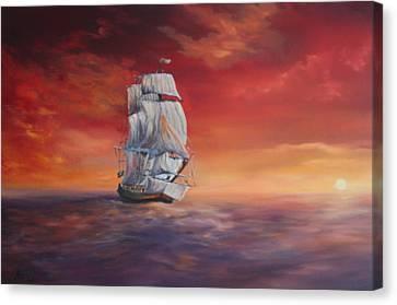 Jean Walker Ship Canvas Print - The Endeavour On Calm Seas by Jean Walker