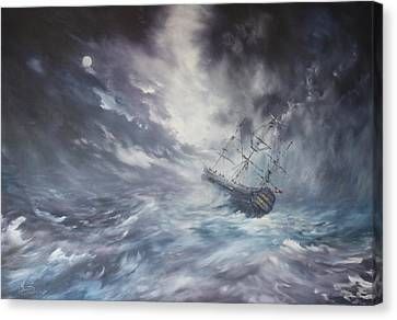 Canvas Print featuring the painting The Endeavour On Stormy Seas by Jean Walker