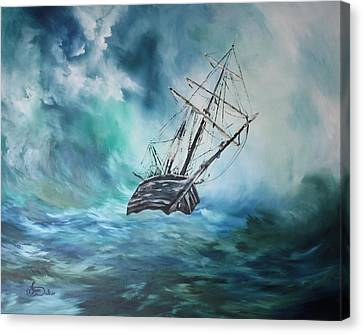Jean Walker Ship Canvas Print - The Endurance At Sea by Jean Walker