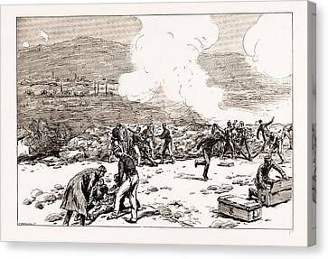 The Engagement At Mati Greek Artillery Making Good Practice Canvas Print