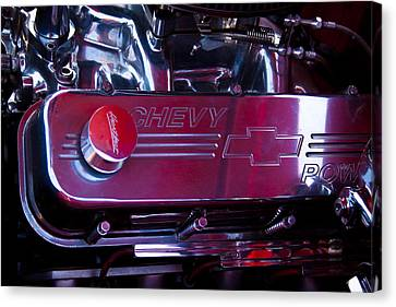 The Engine In A 1956 Chevy Bel Air Custom Hot Rod Canvas Print by David Patterson