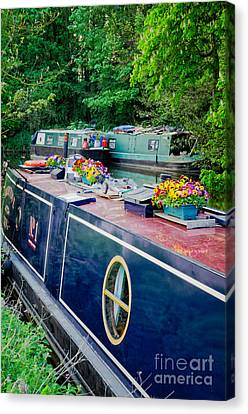 The English Way - Colourful Canal Boats At Rest Canvas Print by David Hill